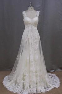 Long Sleeveless A-Line Lace Wedding Dress With Empire Waist
