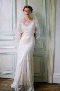 Mini Lace Satin Weddig Dress With Low-V Back