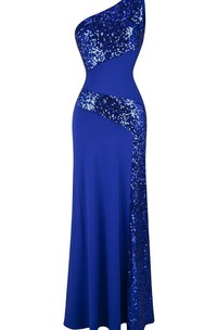 Stunning One-shoulder Chiffon Dress With Sequins