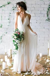 Simple Sexy Plunging V Neck Straps Spaghetti Sheath Chiffon Wedding Dress