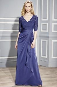 Half Sleeve V-Neck Appliqued Chiffon Formal Dress