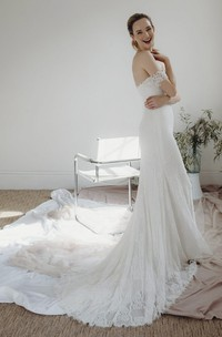 Lace Off-the-shoulder Elegant Sheath Sweetheart Bridal Gown With Open Back And Buttons