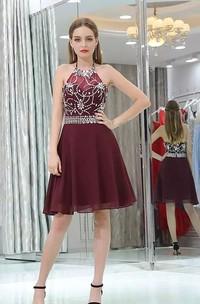 A-line Halter High Neck Sleeveless Beading Knee-length Chiffon Homecoming Dress