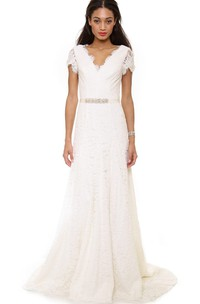 Low-V Neckline A-line Lace Sweep Floor Dress With Low-V Back Style