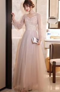 Elegant Tulle High Neck V-neck Queen Anne A Line Evening Formal Dress With Appliques