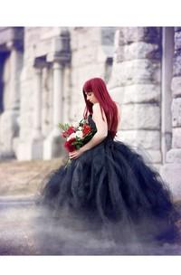 A-Line Strapless Floor-length Sleeveless Open Back Zipper Black Wedding Dress With Ruffles