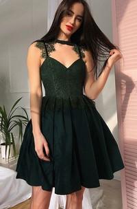 A-line High Neck V-neck Sleeveless Lace Pleats Ruching Short Mini Chiffon Lace Homecoming Dress