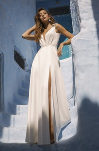 Sleeveless Front Split Sexy Plunging Wedding Dress With Cute Bows And Sash Details