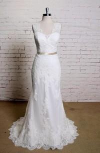 V-Neck Sleeveless Lace Mermaid Wedding Dress With Satin Sash