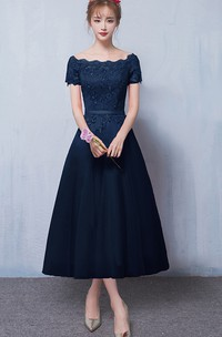 Satin Lace Off-the-shoulder Tea-length Formal Dress With Appliques