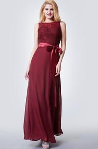 Sleeveless Illusion Bateau Neck Long Chiffon Dress With Lace Bodice