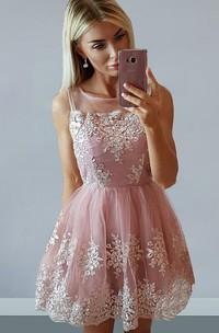 A-line Bateau Sleeveless Appliques Pleats Ruching Short Mini Lace Homecoming Dress