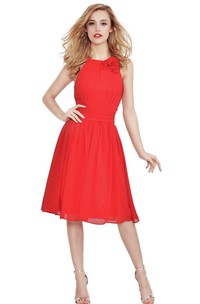 Sleeveless Knee-length Chiffon Dress With V-back