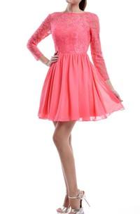 Short Long Sleeve Chiffon&Lace Dress With Low-V Back