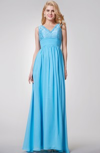 Elegant Sleeveless A-line Long Chiffon and Lace Dress