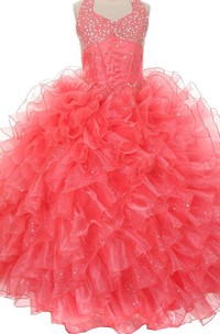 Sleeveless A-line Sequined Dress With Ruffles