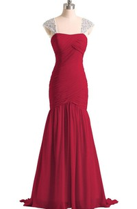 Fit and Flare Long Chiffon Dress With Crystaled Straps