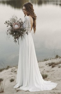 Simple V-neck A-line Long Sleeves Wedding Dress with Lace