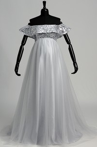 Strapless Sequined Bodice Empire Pleated Tulle Maternity Dress