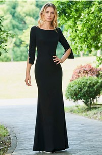 Elegant 3/4 Sleeve With Pearls Mermaid Bateau Satin Floor-length Dress