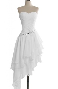Sweetheart Midi-length Asymmetrical Layered Chiffon Dress