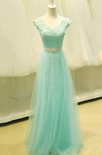 V-neck Cap Sleeve A-line Tulle Lace Bodice Dress