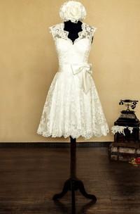 V-Neck Sleeveless Keyhole Back Short Lace Wedding Dress With Bow And Flower