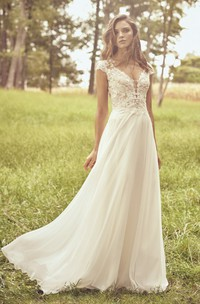 Cap Sleeve Illusion Plunging Neckline And Illusion Back Lace Chiffon Wedding Dress With Appliques