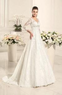 A-Line Sweetheart Long Sleeve Lace Satin Weddig Dress