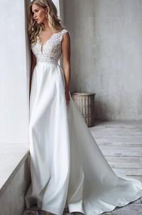 Romantic A Line Satin Lace V-neck Sleeveless Wedding Dress with Ruffles