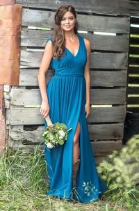 Chiffon V-neck Sleeveless Low-V Back Bridesmaid Dress