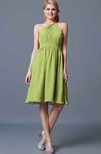 Fairy Halter Neck Sleeveless A-line Chiffon Dress With Empire Waist