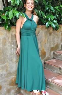 Infinity Emerald Green Convertible Versatile Satin Jersey Long Dress