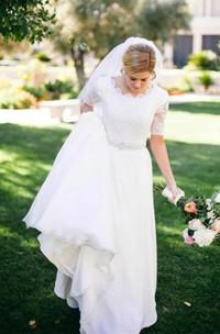 Lace A-line Beading Ivory Half Sleeve Wedding Dress