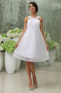Lovely A-Line Short Dress With Straps And Tulle Overlay