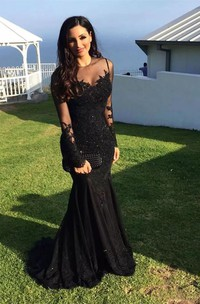 Mermaid High Neck Illusion Long Sleeve Floor-length Sweep Brush Train Lace Evening Dress with Appliques