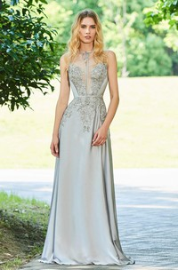 Sleeveless Elegant Chiffon Button Back Prom Gown With beading And Appliques