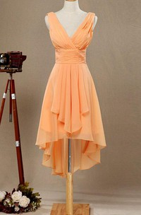 V-neck High Low Bridesmaid Dress With Draping