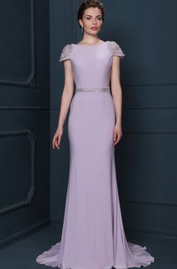 Sheath Beaded Floor-Length Jewel-Neck Cap-Sleeve Jersey Evening Dress With Waist Jewellery