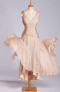 Sleeveless V-neck Tea-length Chiffon Dress with Ruching
