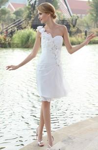 Chiffon Asymmetrical One-Shoulder Dress With Floral Strap