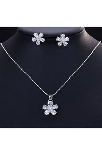 Multiple Color Flower Shaped Rhinestone Necklace and Earrings Jewelry Set
