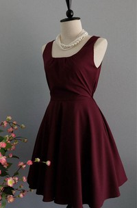 Sweet Sleeveless A-line Satin Dress With Bow
