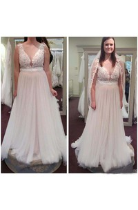 Vintage Country Sheer V Neck A Line Tulle Lace Plus Size Wedding Dresses