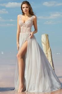 A-line Floor-length V-neck Sleeveless Tulle Low-V Back Dress