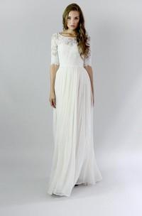 Button Back Sheath Chiffon Wedding Dress With Lace And Pleats