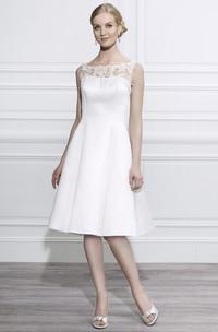 Bateau Knee-Length Appliqued Satin Wedding Dress With Illusion