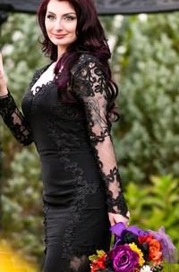 Sheath V-neck Jersey Lace Floor-length Court Train Long Sleeve Wedding Dress with Illusion Back
