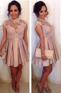 Delicate High Neck Lace Appliques Cocktail Dress 2018 Short A-line