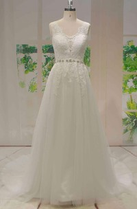Tulle A-line Beaded Sash Sleeveless Lace Wedding Dress With V-back With Buttons